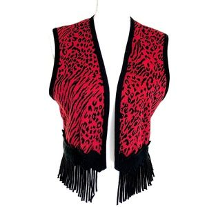 Red Party Animal Print Tasseled Vest Size S